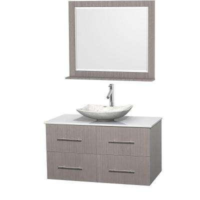 Centra 42 in. Vanity in Gray Oak with Solid-Surface Vanity Top in White, Carrara Marble Sink and 36 in. Mirror