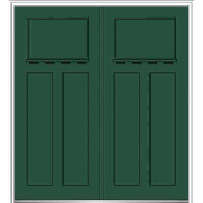64 in. x 80 in. Classic Right-Hand Inswing Craftsman 3-Panel  sc 1 st  Home Depot & Green - Exterior Prehung - 64 x 80 - Doors Without Glass ...