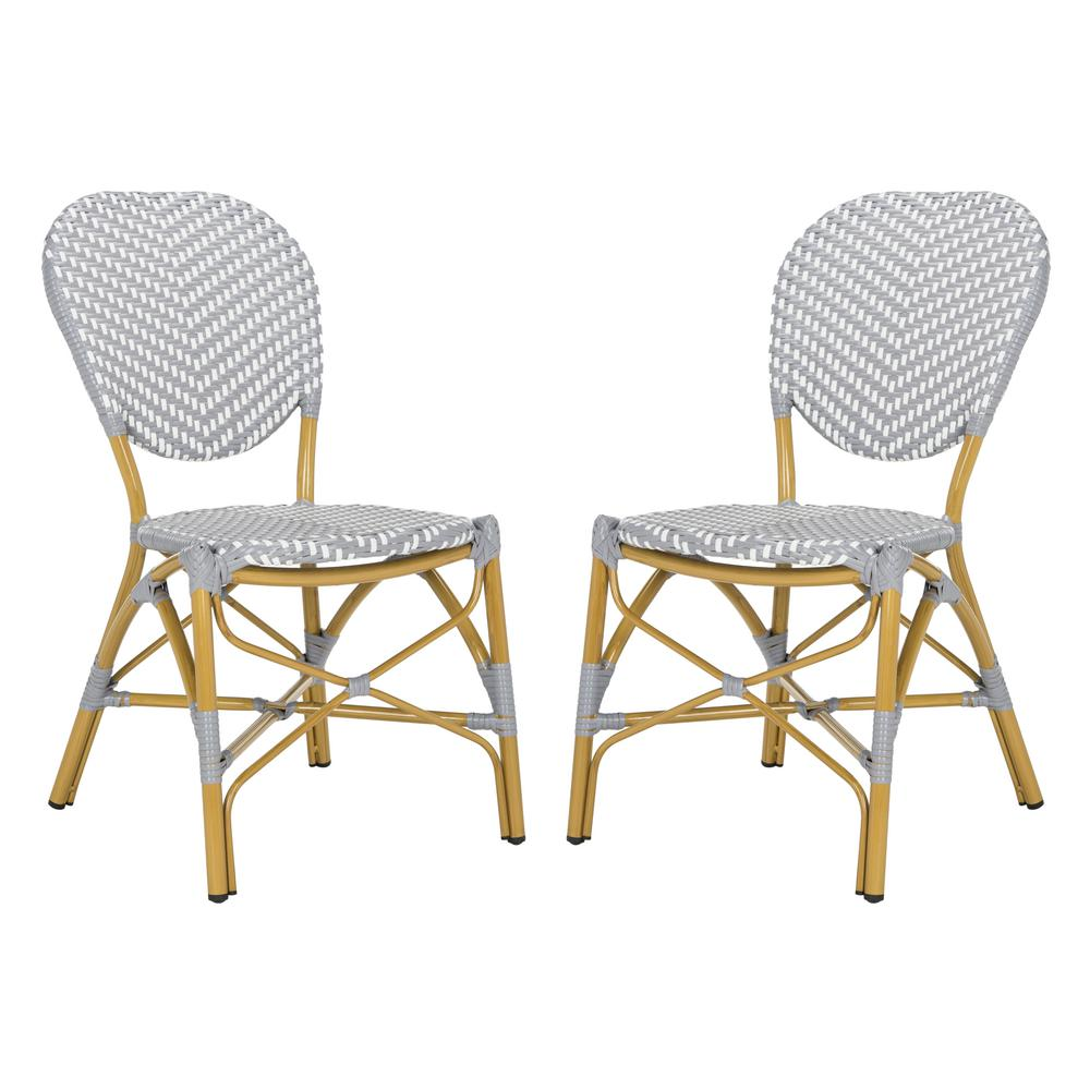 Super Safavieh Lisbeth Stacking Aluminum Outdoor Dining Chair In Grey And White Set Of 2 Gmtry Best Dining Table And Chair Ideas Images Gmtryco