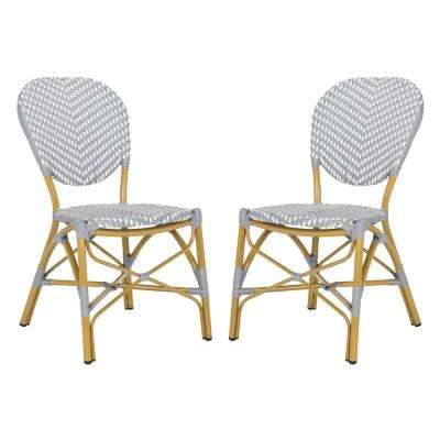 Fine Lisbeth Stacking Aluminum Outdoor Dining Chair In Grey And White Set Of 2 Interior Design Ideas Tzicisoteloinfo