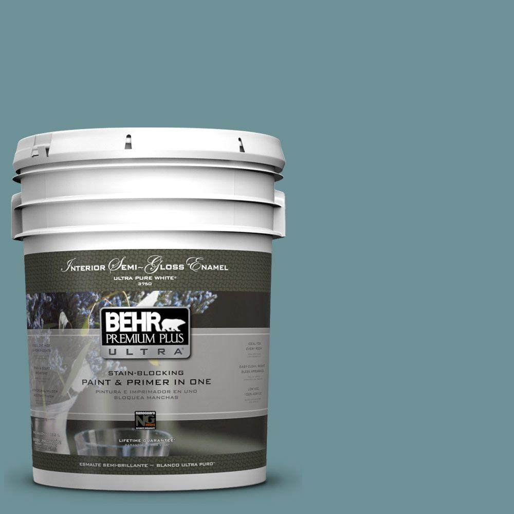 5 gal. #510F-5 Bayside Semi-Gloss Enamel Interior Paint and Primer in