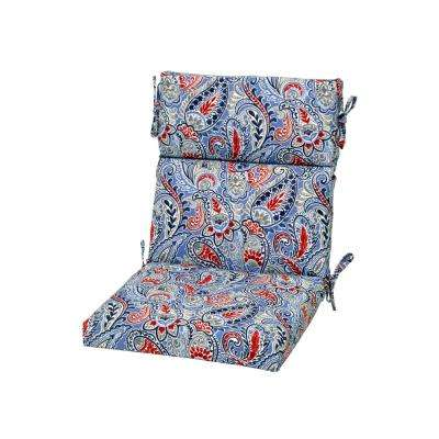 Denim Paisley Outdoor High Back Dining Chair Cushion
