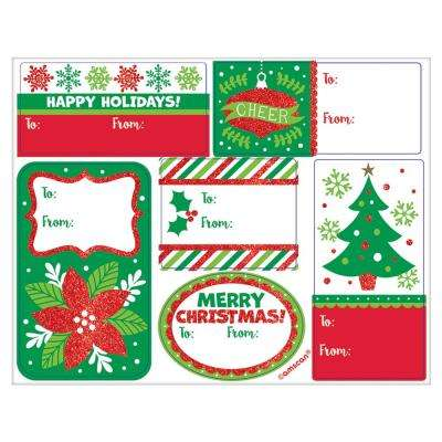 Christmas Holiday Glitter Adhesive Gift Tags (48-Count 5-Pack)