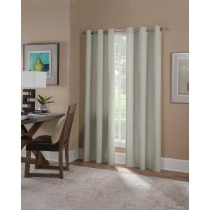 Home Decorators Collection Semi Opaque Grey Faux Linen Back Tab Curtain 50 In W X 108 In L