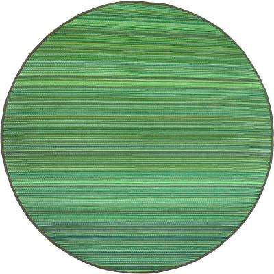 Cancun Indoor/Outdoor Green 8 ft. Round Area Rug