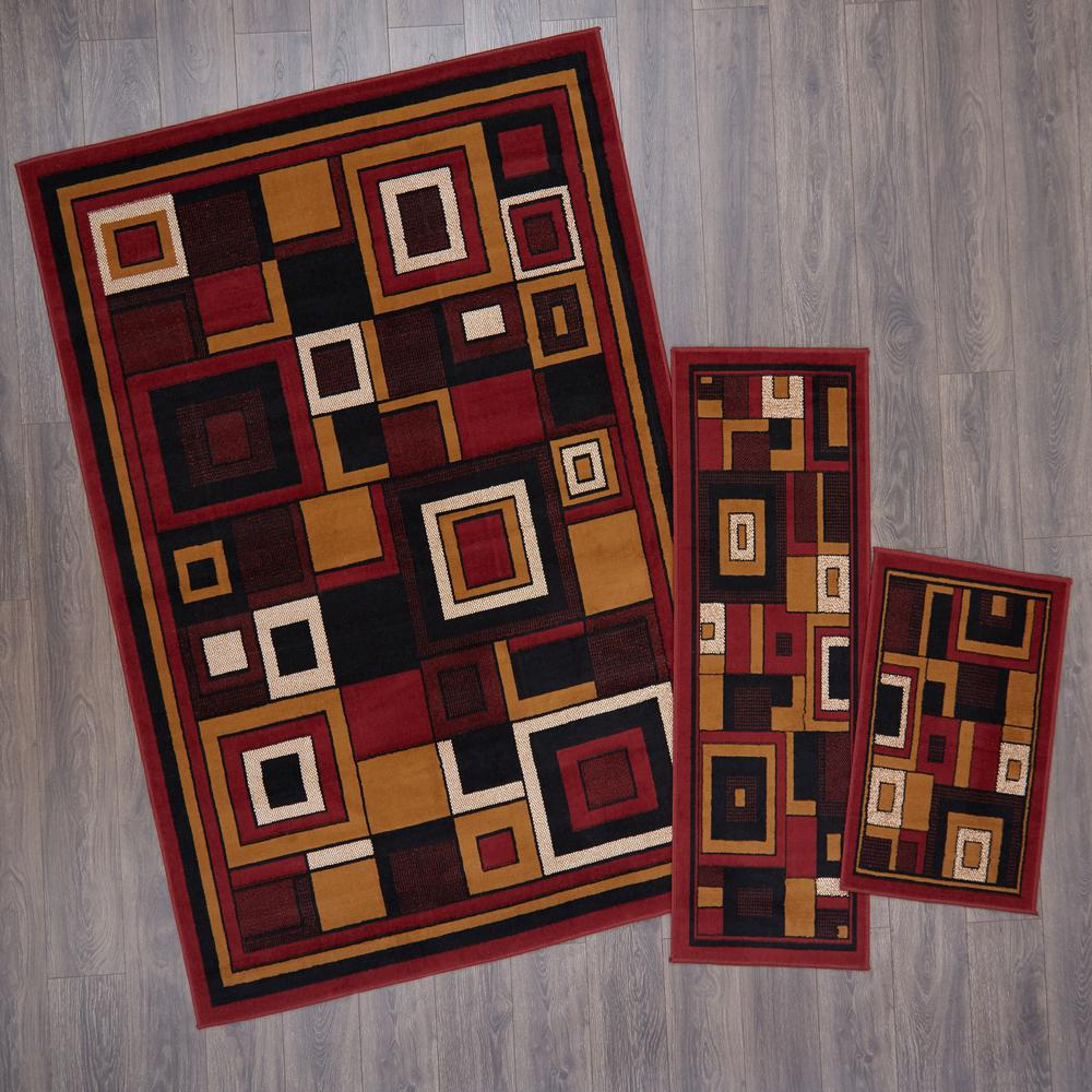 3 Piece Rug Sets Cheap Part - 19: Home Dynamix Ariana Red 5 ft. x 7 ft. 3-Piece Rug Set