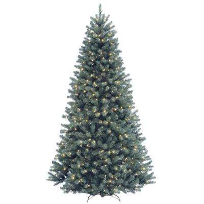 7-1/2 ft. North Valley Spruce Blue Hinged Artificial Christmas Tree with 700 Clear Lights