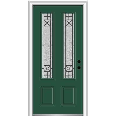 36 in. x 80 in. Courtyard Left-Hand 2 Lite Decorative Painted Fiberglass Smooth Prehung Front Door, 4-9/16 in. Frame