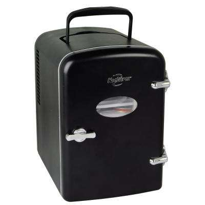 0.14 cu. ft. Retro Mini Fridge in Black without Freezer