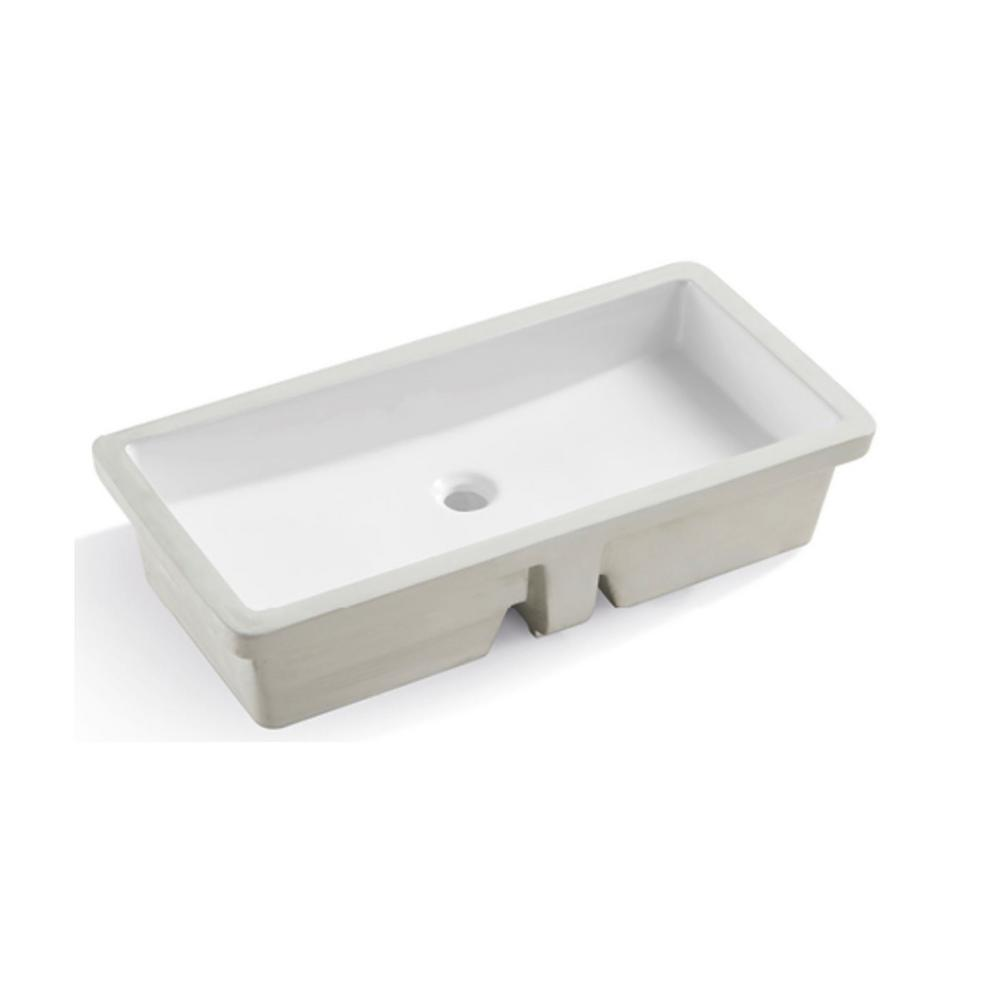 Kingsman Hardware 27-13/16 in. Rectangle Undermount Vitreous Glazed Ceramic Lavatory Vanity Bathroom Sink in Pure White