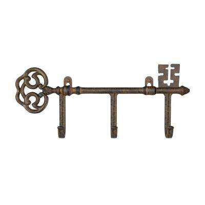 3-Pronged Cast Iron Rustic Decorative Skeleton Key Wall Mount Hooks