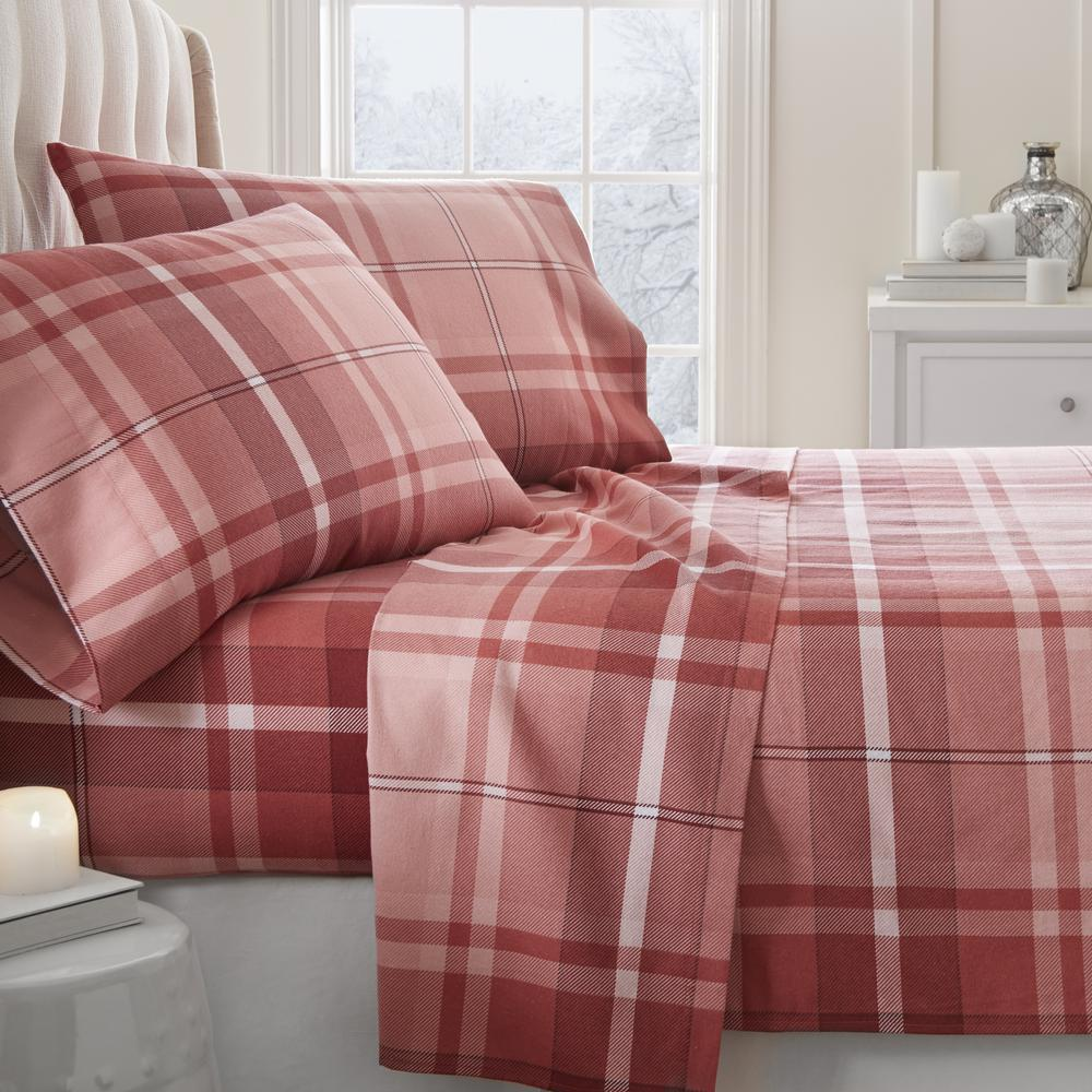 Becky Cameron Plaid Flannel Red California King 4 Piece Bed Sheet Set
