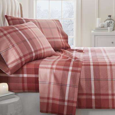 Plaid Flannel Red King 4-Piece Bed Sheet Set