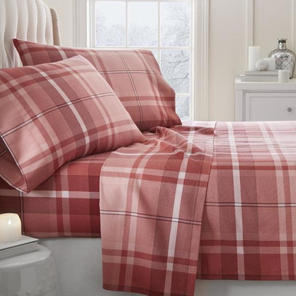 Becky Cameron Plaid Flannel Red Queen 4-Piece Bed Sheet Set IEH-4PC-FPL-Q-RE