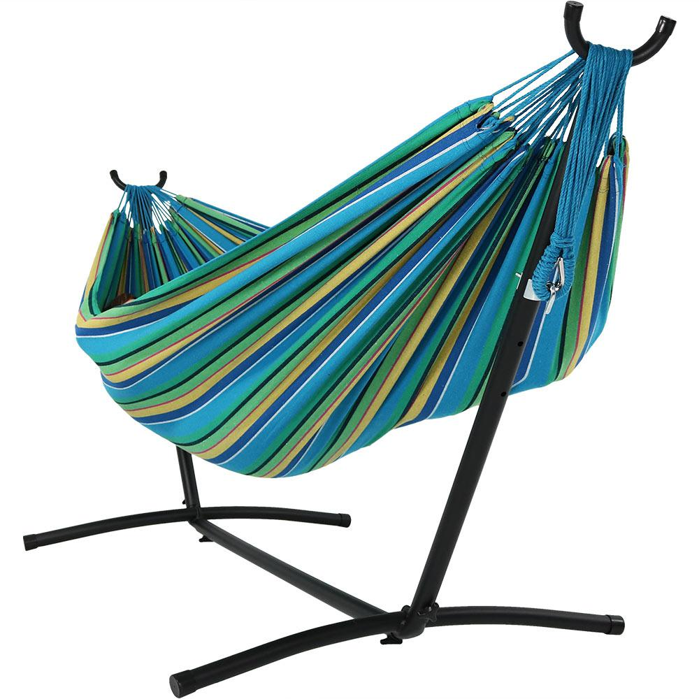 8 ft. Fabric Jumbo 2-Person Brazilian Hammock with Stand in Sea