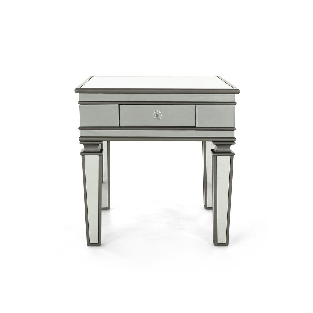 Garibaldi Modern Mirrored Accent Table with Black Fir Wood Frame