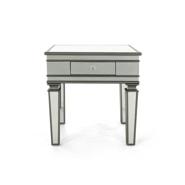 Noble House Garibaldi Modern Mirrored Accent Table with Black Fir Wood Frame