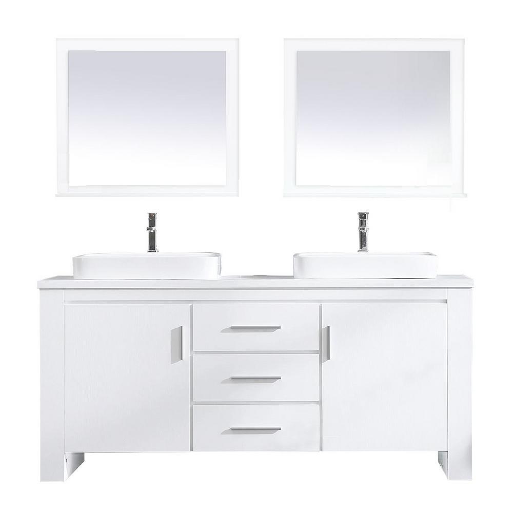 Washington 72 in. W x 22 in. D Bath Vanity in White with Veneer Vanity Top in White with White Basin and Mirror