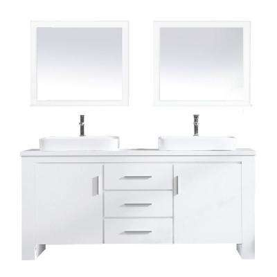 Washington 72 in. W x 22 in. D Bath Vanity in White with Veneer Vanity Top in White with White Basin and Mirror
