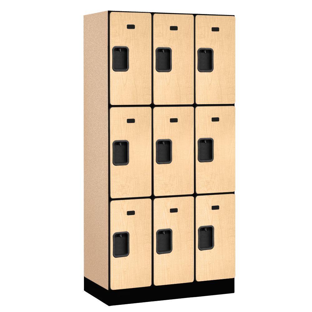 33000 Series 36 in. W x 76 in. H x 18 in. D 3-Tier Designer Wood Locker in Maple