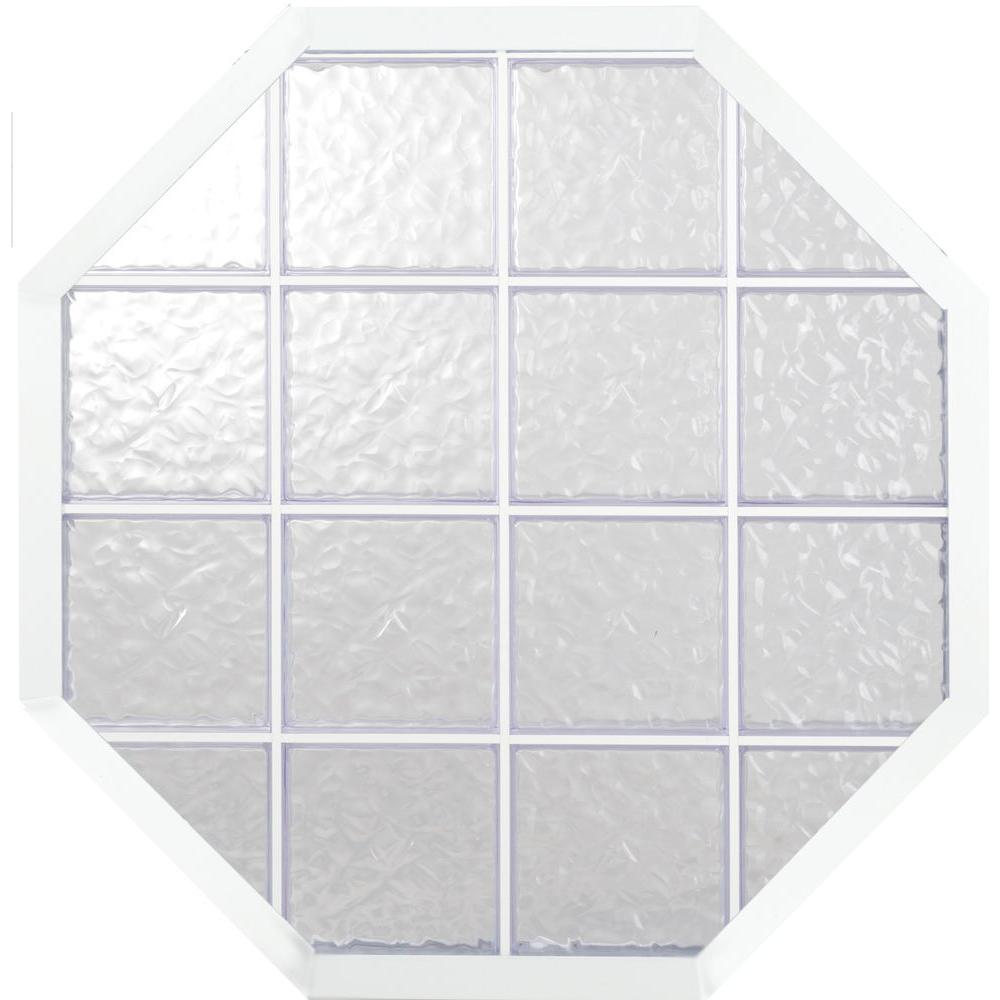 Hy-Lite 34 in.x34 in. Glacier Pattern 8 in. Acrylic Block White Vinyl Fin Fixed Octagon Window with White Silicone-DISCONTINUED