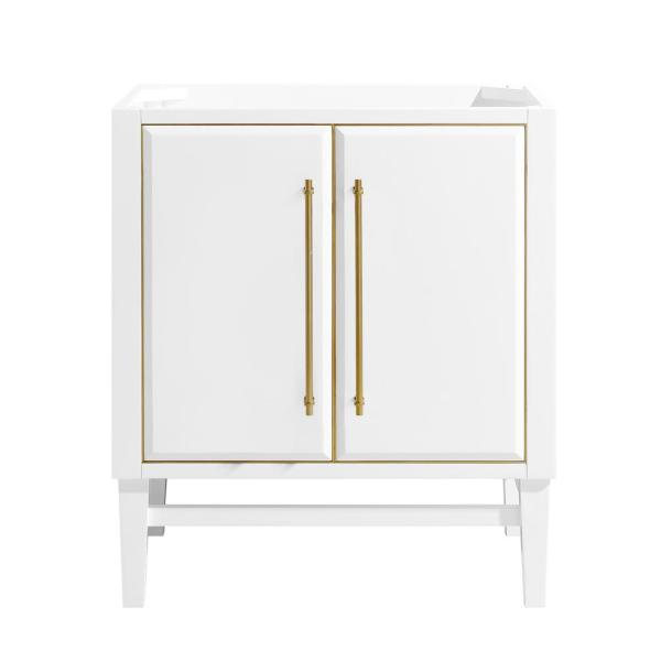 Mason 30 in. Bath Vanity Cabinet Only in White with Gold Trim