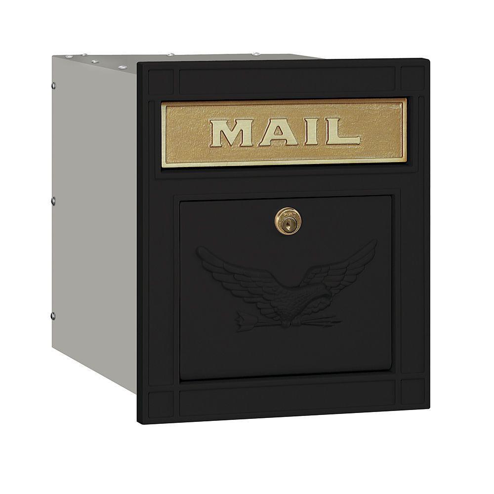 Salsbury Industries 4100 Series 11.5 in. W x 13.25 in. H x 15.75 in. D Black Locking Eagle Door Cast Aluminum Column Mailbox
