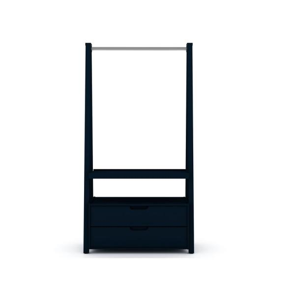 2-Drawer Tatiana Midnight Blue Mid-Century Modern Open Wardrobe Armoire Closet