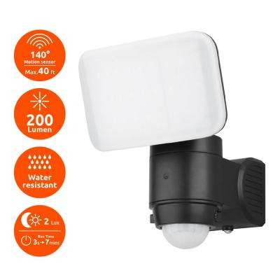 Black 200-Lumen Motion Activated Outdoor Integrated LED 6500K Battery Powered Landscape Flood Light