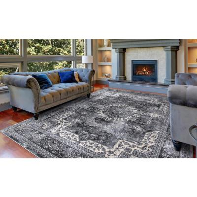Angora Anthracite 5 ft. x 7 ft. Medallion Area Rug