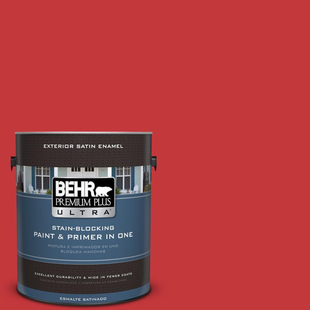 BEHR Premium Plus Ultra 1-gal. #150B-7 Poinsettia Satin Enamel Exterior Paint