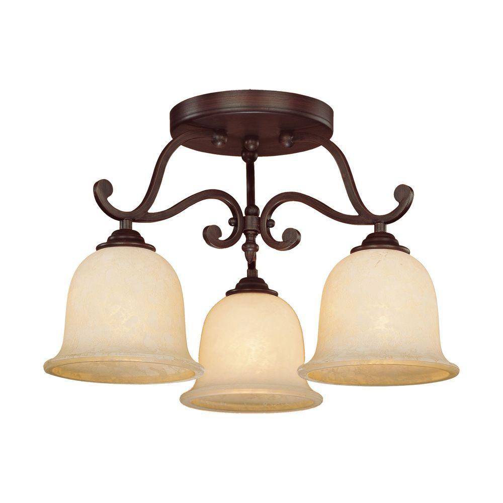 3-Light Rubbed Bronze Semi-Flush Mount Light with Turinian Scavo Glass