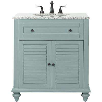 Hamilton Shutter 31 in. W x 22 in. D Bath Vanity in Sea Glass with Granite Vanity Top in Grey