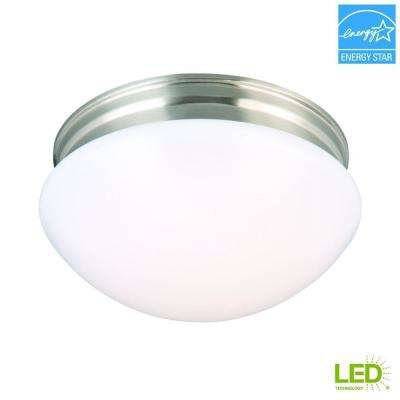 9 in. 60-Watt Equivalent Brushed Nickel Integrated LED Mushroom Flushmount with White Acrylic Shade
