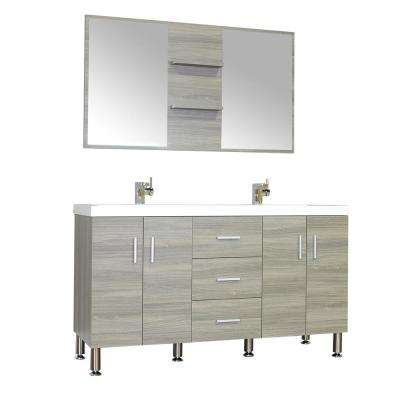 The Modern 56.5 in. W x 19.875 in. D Bath Vanity in Gray with Acrylic Vanity Top in White with White Basin and Mirror