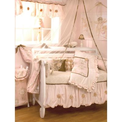 Lollipops and Roses 8-Piece Pink and White Angel Toile Crib Bedding Set