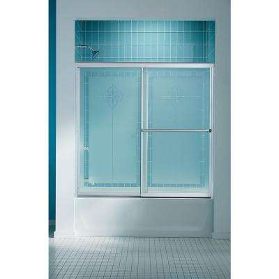 Prevail 59-3/8 in. x 56-3/8 in. Framed Sliding Bathtub Door in Silver with Handle