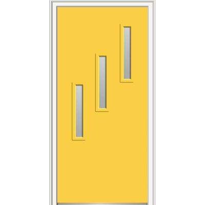 32 in. x 80 in. Davina Low-E Glass Left-Hand 3-Lite Clear Vertical Modern Painted Fiberglass Smooth Prehung Front Door