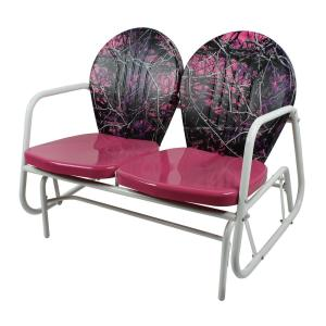 MUDDY GIRL Pink Camouflage Metal Classic Outdoor Glider by MUDDY GIRL