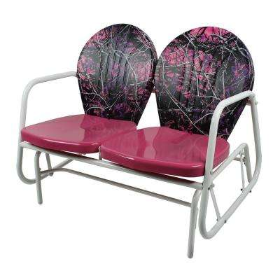 Pink Camouflage Metal Classic Outdoor Glider
