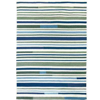 Sea Breeze Stripes Teal 8 ft. x 10 ft. Indoor/Outdoor Area Rug