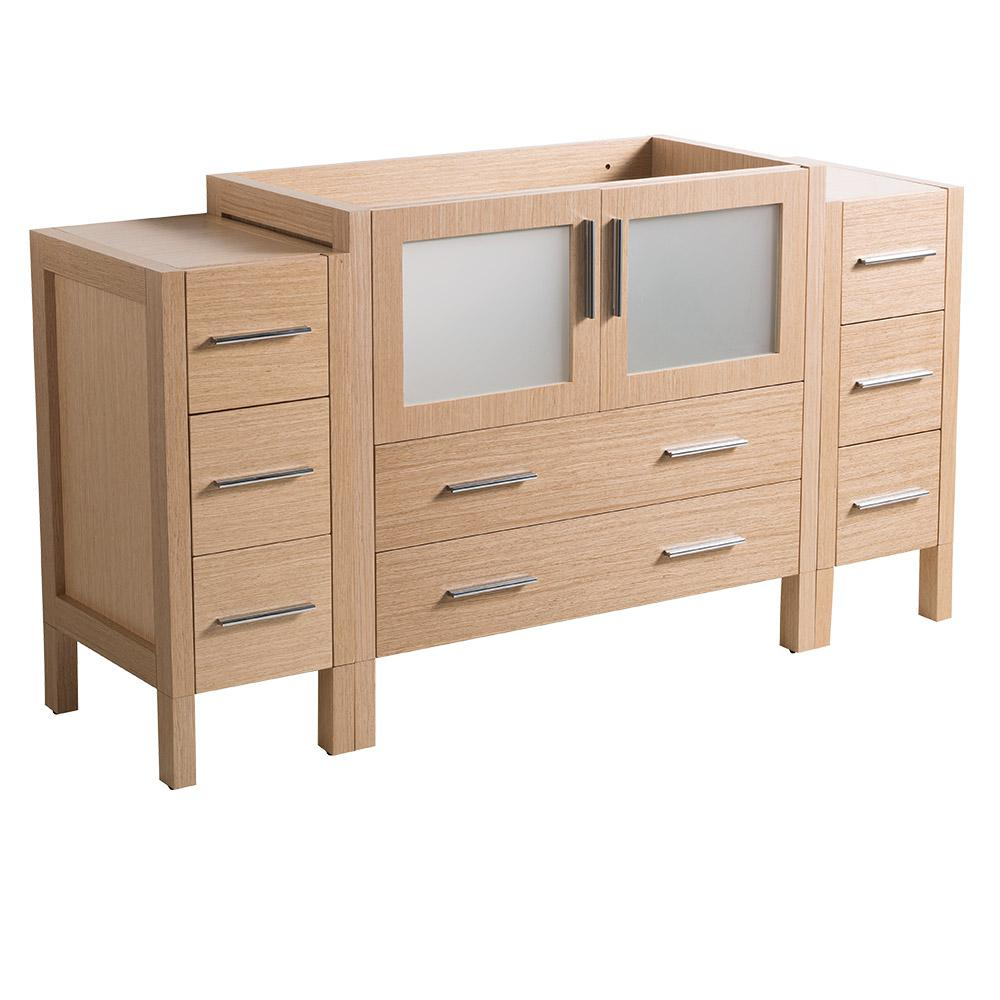 60 in. Torino Modern Bathroom Vanity Cabinet in Light Oak