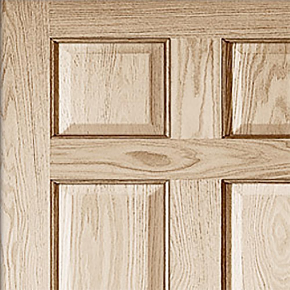 Jeld Wen 32 In X 80 In Oak Unfinished Left Hand 6 Panel Solid Wood Single Prehung Interior Door 643863 The Home Depot
