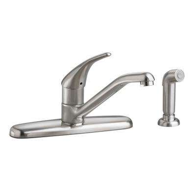 Colony Soft Single-Handle Standard Kitchen Faucet with Side Sprayer in Stainless Steel