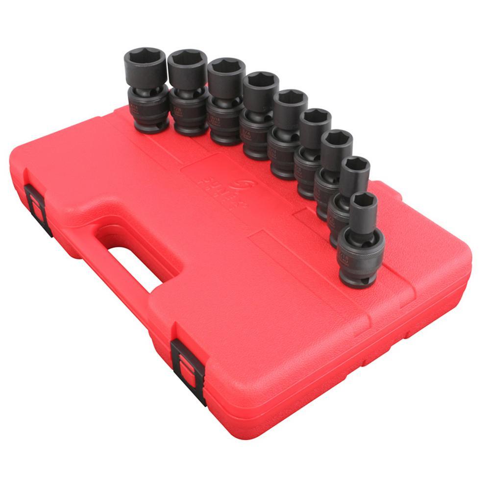 1/2 in. Drive 9-Piece Universal STD SAE Impact Socket Set