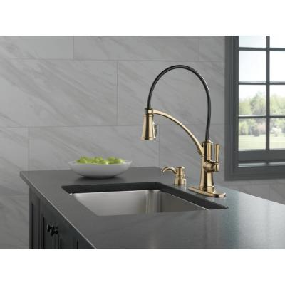 Foundry Single-Handle Pull-Down Sprayer Kitchen Faucet with ShieldSpray and Soap Dispenser in Champagne Bronze