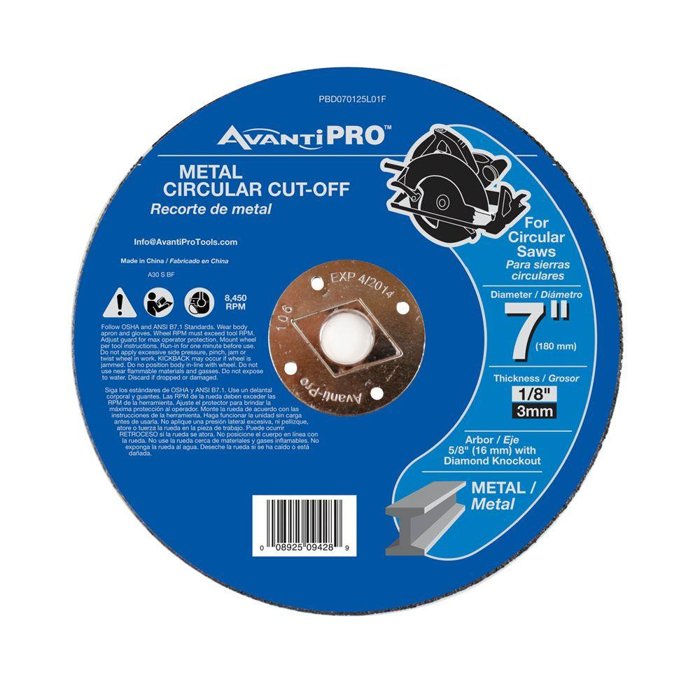 Avanti Pro 7 in. x 1/8 in. x 5/8 in. Metal Cut-Off Disc