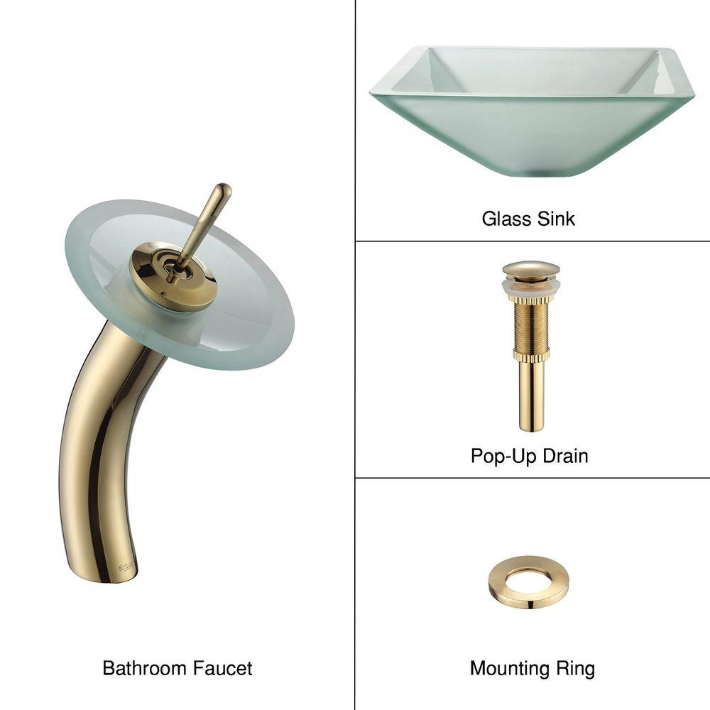 KRAUS Glass Bathroom Sink in Frosted Aquamarine with Single Hole Single-Handle Low-Arc Waterfall Faucet in Gold-DISCONTINUED
