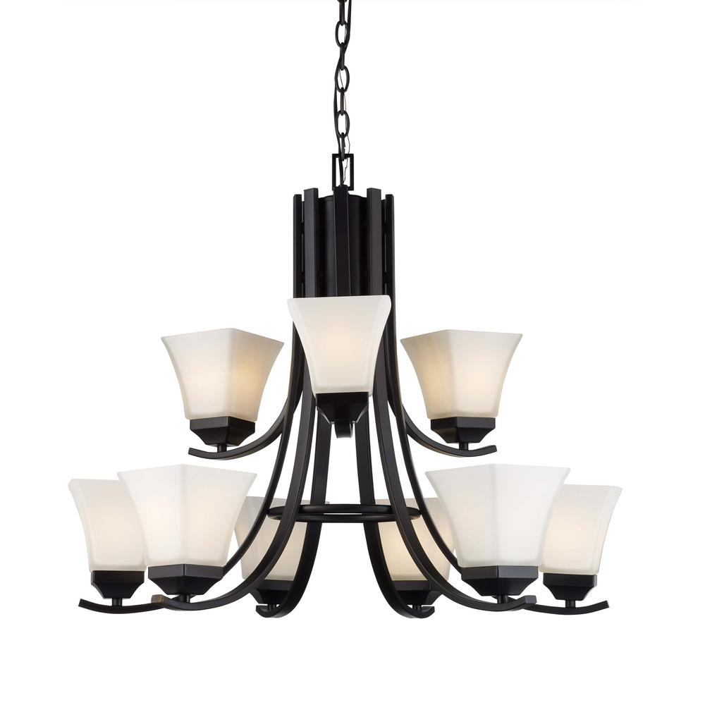 Bel Air Lighting Cameo 9 Light Rubbed Oil Bronze Chandelier With Frosted Shade