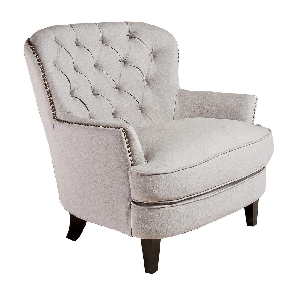 Bon Tafton Natural Fabric Tufted Club Chair